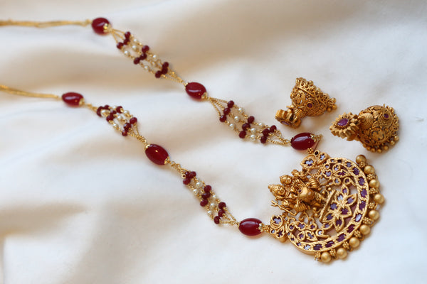 Matt Gold Antique Shiv Parivaar Necklace