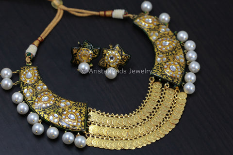 Kundan Enamel Coin Necklace