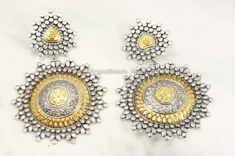 Extra Large Dual Tone Silver Polki Earrings