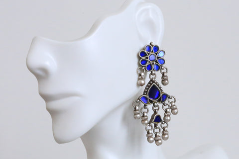 925 Sterling Silver Glass Kundan  Earrings