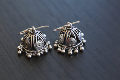 925 Silver Jhumka Earrings - AristaBeads Jewelry - 1