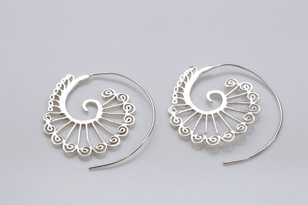 Tribal Brass Spirals Earrings  -Gold and Silver - AristaBeads Jewelry - 3
