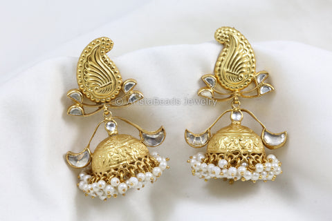 Large Gold Plated Silver Kundan Jhumka