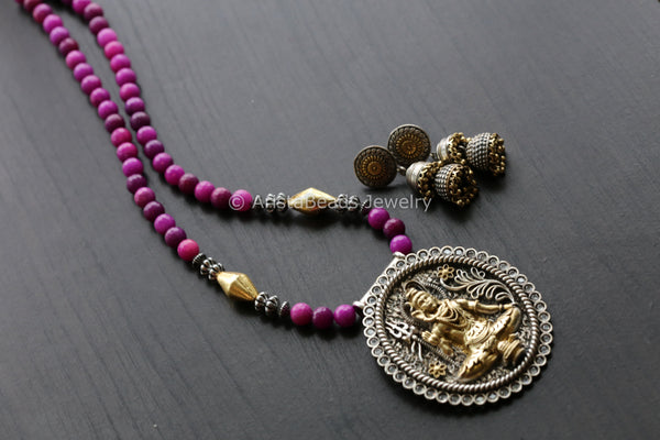 Purple Dual Tone Shiva Necklace  Set