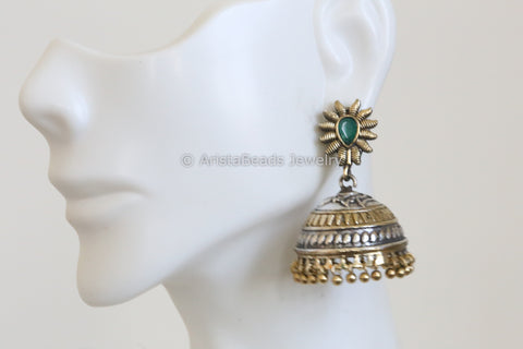 Cute Emerald Two Tone Jhumka