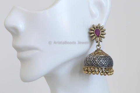 Cute Ruby Two Tone Jhumka
