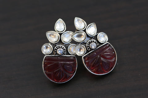 Small Contemporary Kundan Studs - Red