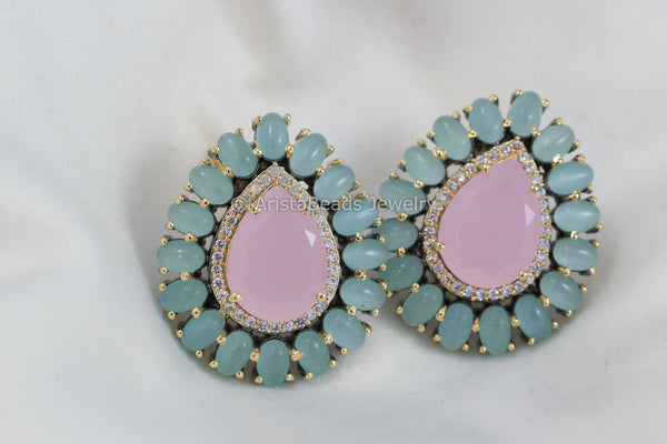 Large Stud -Pink &  Sea Green