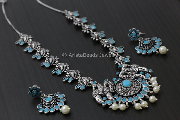 Oxidized Turquoise Peacock Necklace