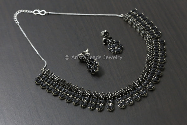 Silver Tone Black Stone Necklace
