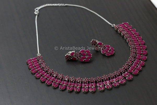Silver Tone Ruby Stone Necklace