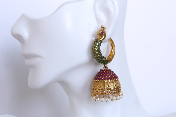 Antique Gold Ruby Emerald Polki Jhumka