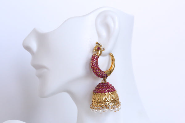 Antique Gold Ruby Jhumka