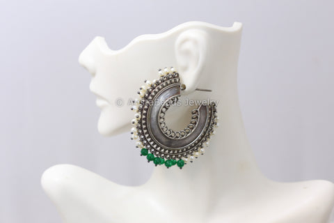Real Silver Look Hoops Earrings