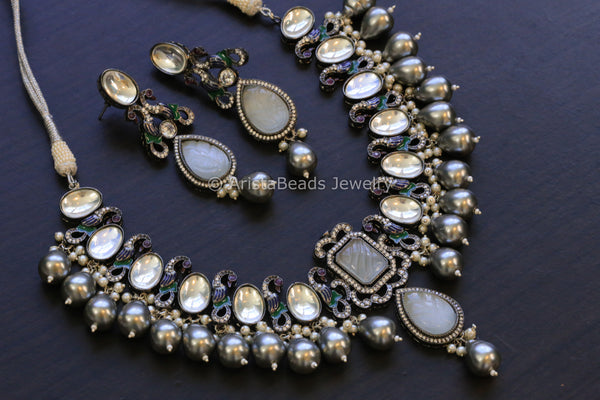 Contemporary Victorian Kundan Necklace Set