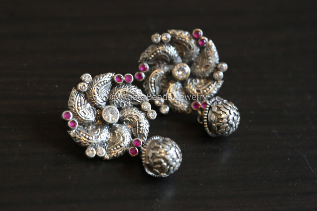 Cute Oxidized Studs -  Ruby White