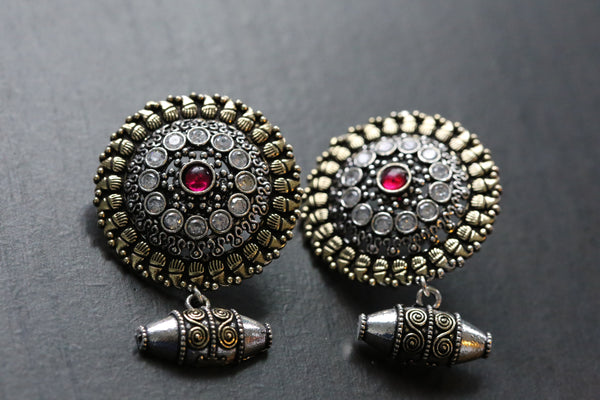 Large Stud With Bead Drops - Clear & Ruby