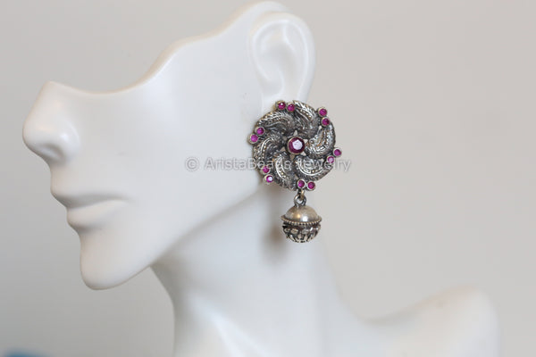 Cute Oxidized Studs -  Ruby