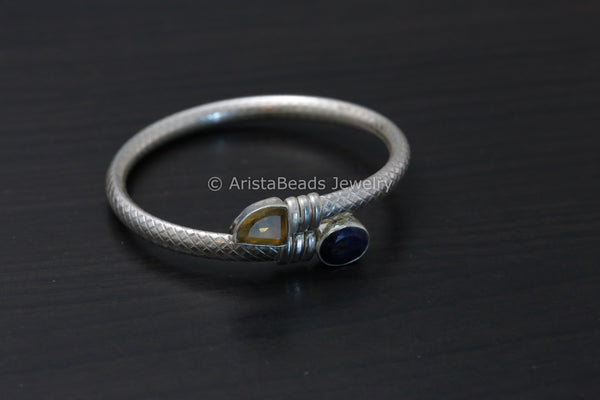 925 Sterling Silver Blue Sapphire Citrine  Bangle