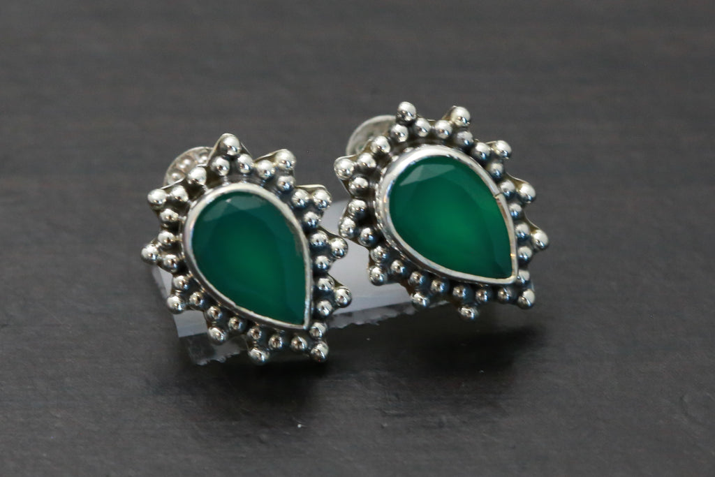 Delicate Green Onyx Studs