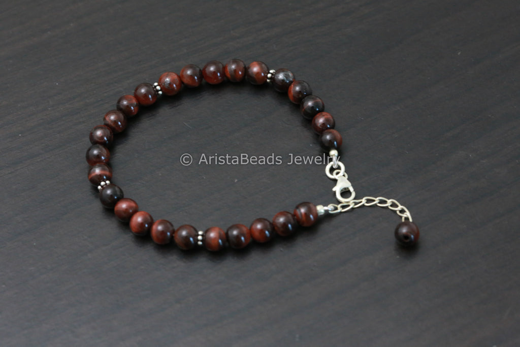 925 Sterling Silver Red Tiger Eye Bracelet