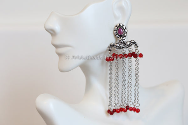 Oxidized Tassel Earrings - Ruby Red