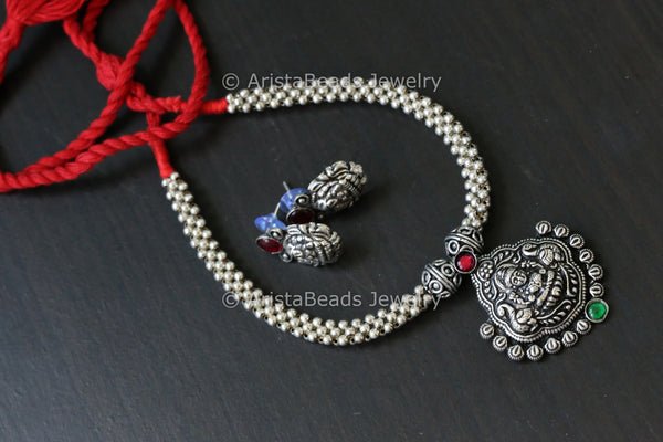 Oxidized  Lakshmi Thussi Necklace