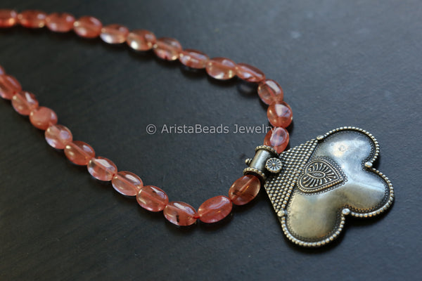 Oxidized Silver Look Tribal Necklace