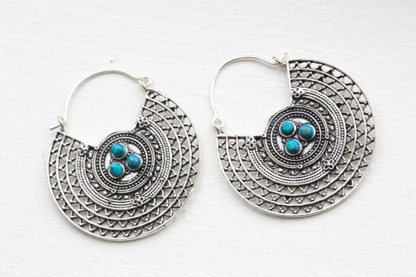 Turquoise Brass Silver Hoops - AristaBeads Jewelry - 2