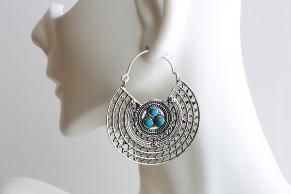 Turquoise Brass Silver Hoops - AristaBeads Jewelry - 1