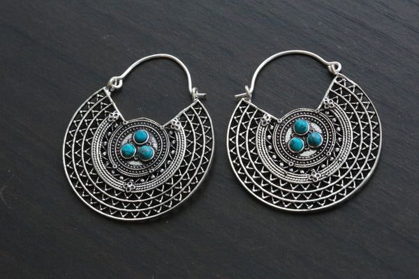 Turquoise Brass Silver Hoops - AristaBeads Jewelry - 3