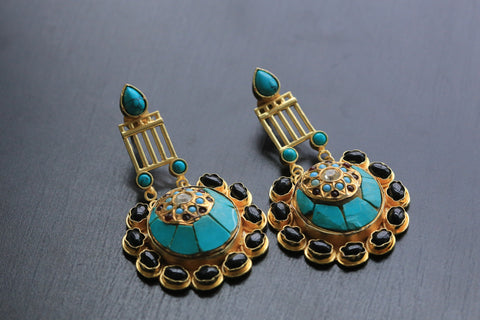 Contemporary Jadau Turquoise Earrings