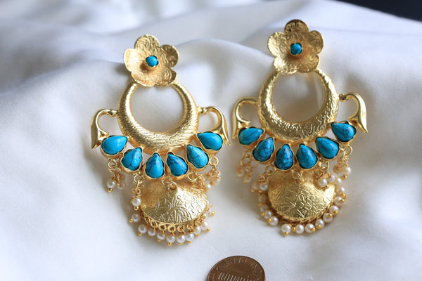 Contemporary Turquoise Jhumka Earrings