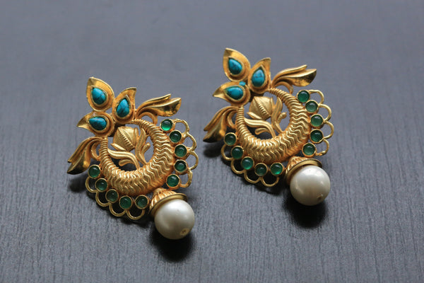 Contemporary Turquoise Filigree Earrings