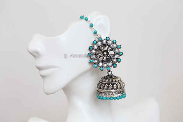 925 Sterling Silver Turquoise Pearl Jhumka