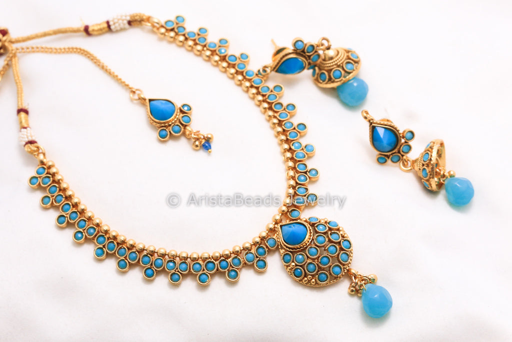 Antique Turquoise Necklace Set - AristaBeads Jewelry - 1