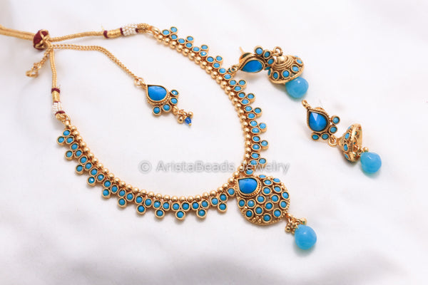 Antique Turquoise Necklace Set - AristaBeads Jewelry - 3