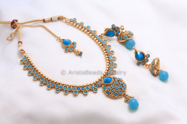Antique Turquoise Necklace Set - AristaBeads Jewelry - 4
