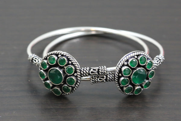 Silver Finish  Green CZ Bangle