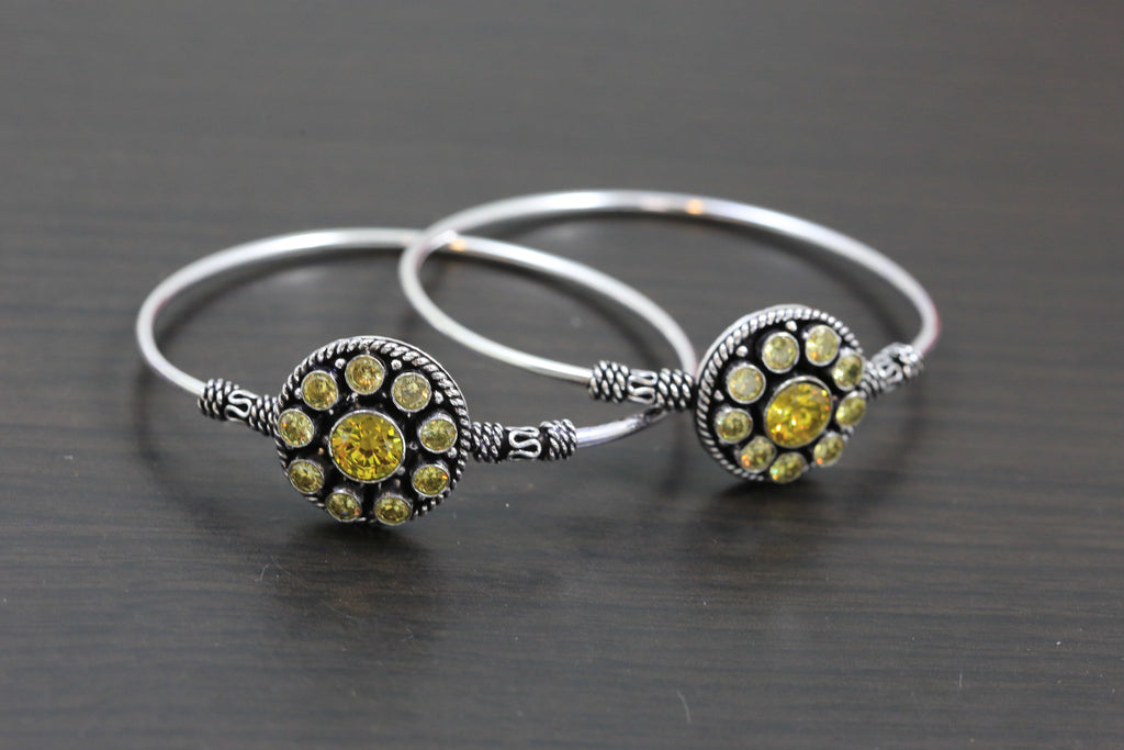 Silver Finish  Yellow CZ Bangle