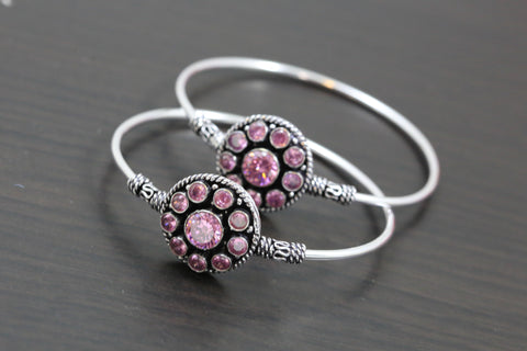 Silver Finish Pink CZ Bangle