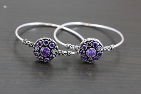 Silver Finish Purple CZ Bangle