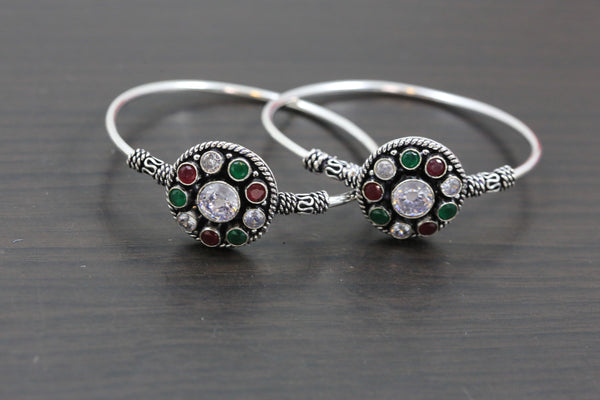 Silver Finish Multicolor CZ Bangle