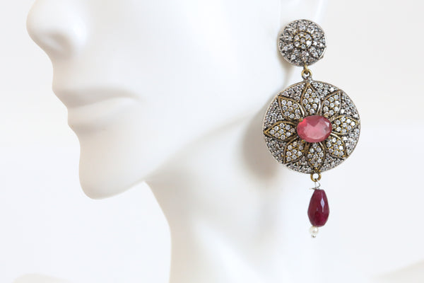 Ruby CZ Victorian Earrings