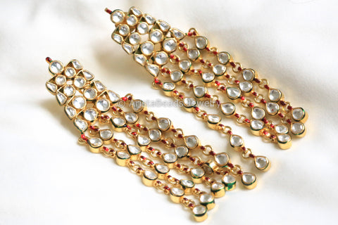 Long Kundan Pasa Earrings
