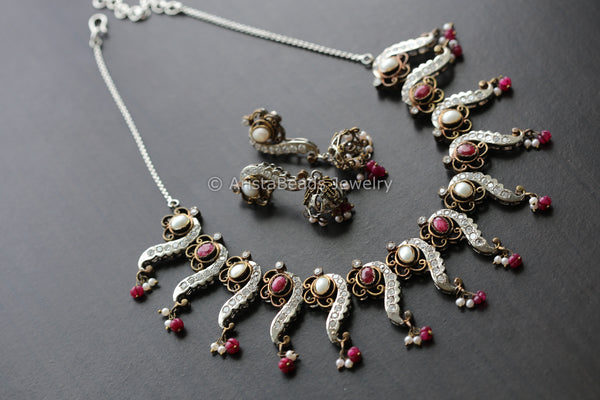 Victorian Ruby Pearl Necklace