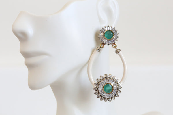 Emerald Victorian Enamel Earrings