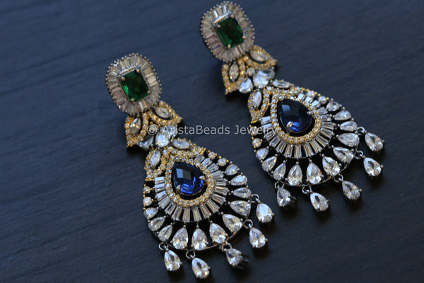 Victorian Blue Green CZ Earrings