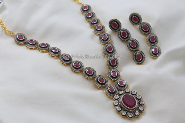Contemporary Uncut Victorian CZ Necklace