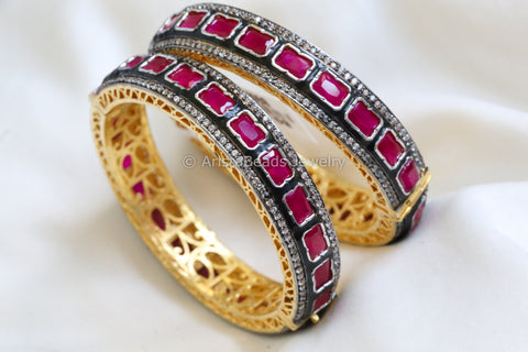 Diamond Polki Enamel Bangle Set